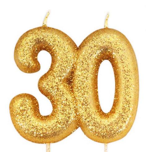 Kuchen Kerze 30 Geburtstag Gold Glitzer