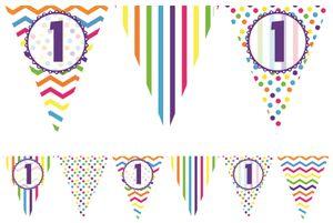 bunte Wimpel Girlande zum 1. Geburtstag