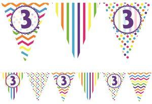 bunte Papier Wimpel Girlande zum 3. Geburtstag 3,7 Meter
