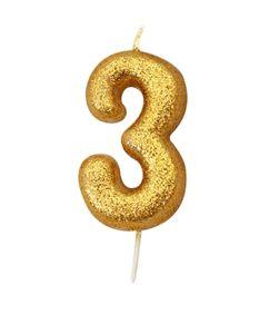 Schimmernde Glitzer Zahlenkerze 3 in Gold