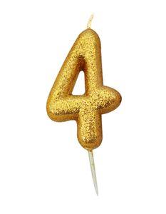 Schimmernde Glitzer Zahlenkerze 4 in Gold
