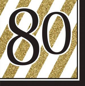 [Paket] 27 Teile Dekorations Set zum 80. Geburtstag oder Jubiläum - Party Deko in Schwarz & Gold