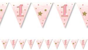 Wimpel Girlande blinke kleiner Stern in Rosa zum 1. Geburtstag