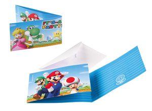 8 Einladungskarten Super Mario