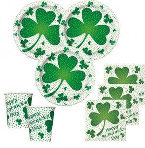 48 Teile St. Patricks Day Deko Set Kleeblatt 16 Personen