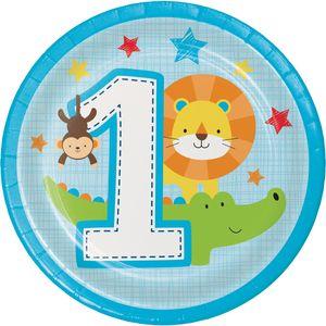 8 kleine Teller 1. Geburtstag im Zoo Blau