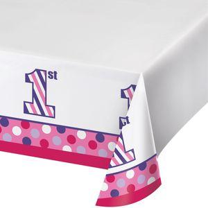 Tischdecke 1. Geburtstag Punkte und Streifen Pink