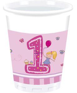 8 Becher 1. Geburtstag Mädchen