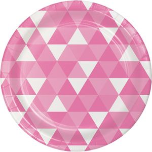 8 Papp Teller Triangel Fractals in Bonbon Rosa – Bild 1