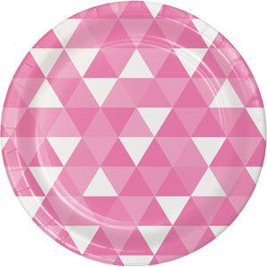 8 Papp Teller Triangel Fractals in Bonbon Rosa