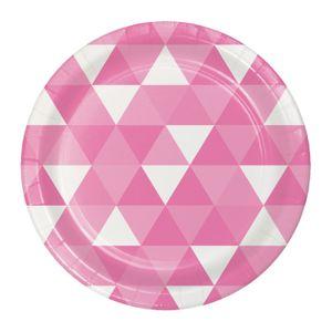 8 kleine Papp Teller Triangel Fractals in Bonbon Rosa – Bild 1