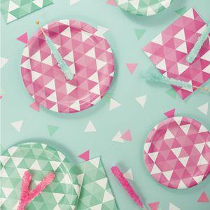 16 kleine Servietten Triangel Fractals in Bonbon Rosa – Bild 3