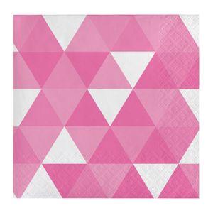 16 kleine Servietten Triangel Fractals in Bonbon Rosa – Bild 1