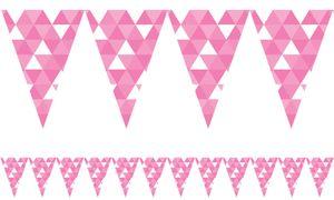 Wimpel Banner Triangel Fractals in Bonbon Rosa