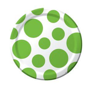 8 kleine Papp Teller Punkte in Limonen Grün – Bild 1