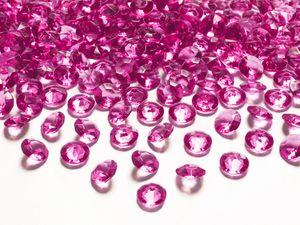 30g kleine Deko Plastik Diamanten pink - 12 mm Durchmesser