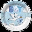 8 Teller Baby Storch Blau
