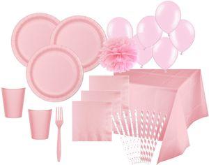 XXL 108 Teile Party Deko Set Pastell Rosa für 16 Personen – Bild 1