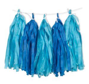 Quasten Girlande aus Seidenpapier in Hellblau und Königs Blau