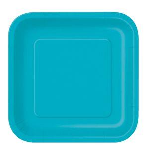 16 kleine quadratische Teller Karibik Blau