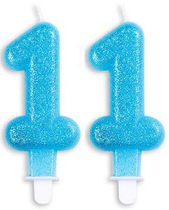 Blaue Glitzer Zahlenkerzen 11