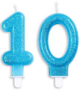 Blaue Glitzer Zahlenkerzen 10