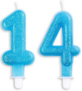 Blaue Glitzer Zahlenkerzen 14