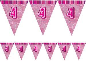 4. Geburtstag Wimpel Girlande Pink