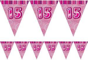 15. Geburtstag Wimpel Girlande Pink