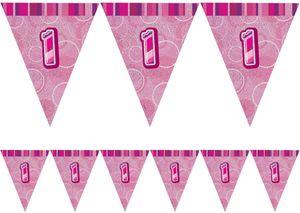 1. Geburtstag Wimpel Girlande Pink