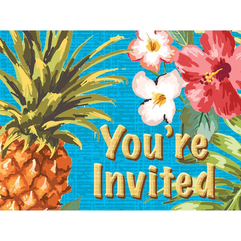 8 einladungskarten ananas party