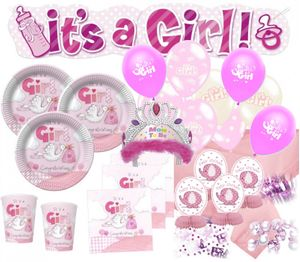 XXL 79 Teile Baby Shower Deko Set Rosa Storch 16 Personen - Babyparty Mädchen