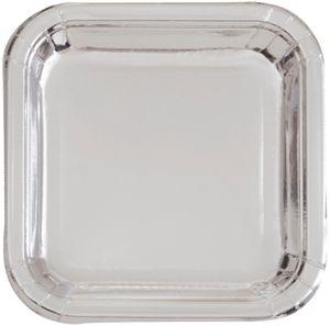 8 quadratische Papp Teller Silber Glanz