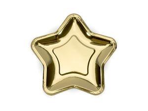 6 kleine Stern Papp Teller Gold Glanz