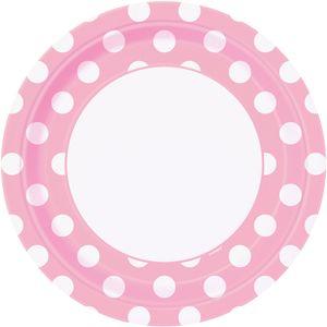 8 Papp Teller Baby Rosa Punkte