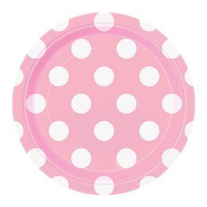 8 kleine Papp Teller Baby Rosa Punkte