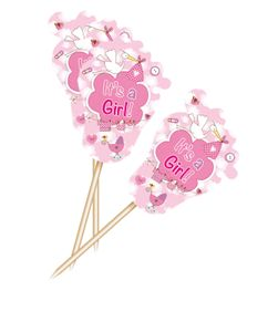24 kleine Kuchen Picker Baby Party Storch Rosa