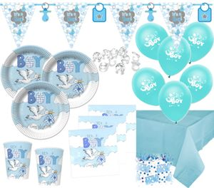 XL 67 Teile Baby Shower Deko Set Storch Hellblau 16 Personen