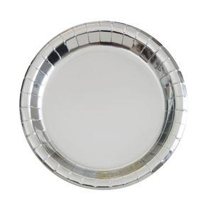 8 kleine Papp Teller Silber Glanz