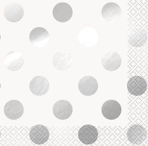 16 kleine Servietten Weiß Silber gepunktet mit Glanz Applikationen
