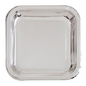 8 kleine quadratische Papp Teller Silber Glanz