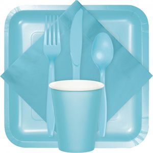 24 Teile Premium Plastik Gabeln Pastell Blau – Bild 2
