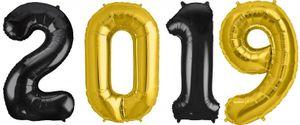 [Paket] Folien Ballon Zahl 2019 in Gold & Schwarz - XXL Riesenzahl 86 cm zum Silvester, Neujahr, Jahreszahl