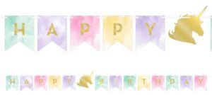 Geburtstags Girlande goldenes Einhorn