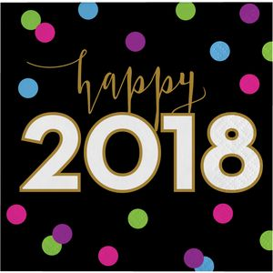 16 kleine Happy 2018 Servietten