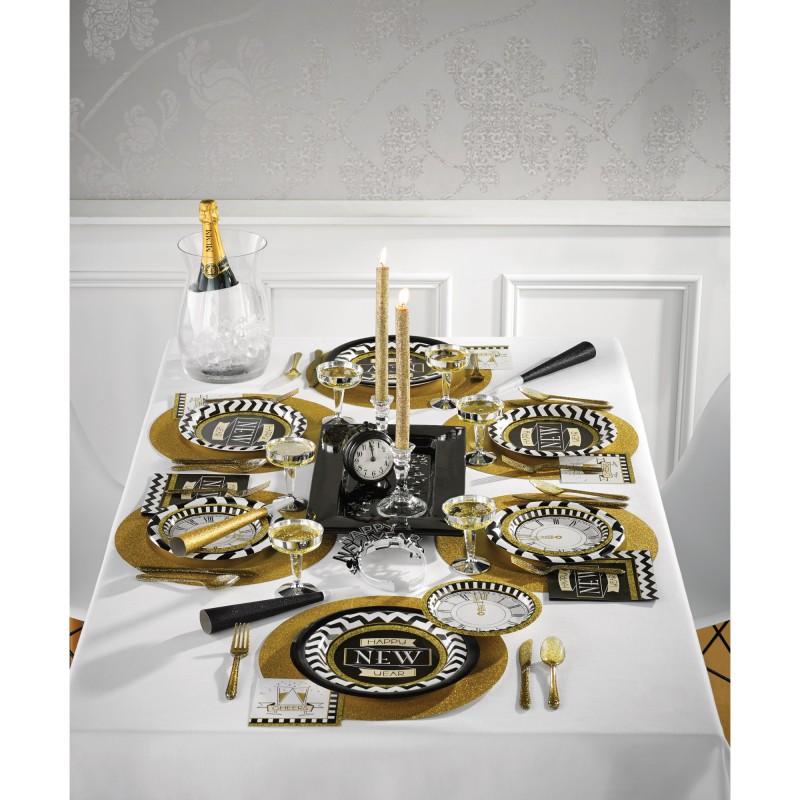 33 teile 2019 silvester und neujahrs fingerfood party deko set 8 personen black and gold. Black Bedroom Furniture Sets. Home Design Ideas
