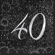 40. Geburtstag 16 Servietten in Schwarz Silber foliert