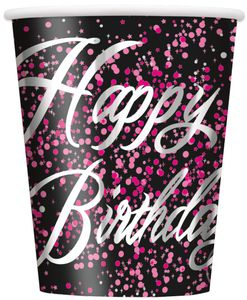8 Happy Birthday Becher in Schwarz Pink foliert