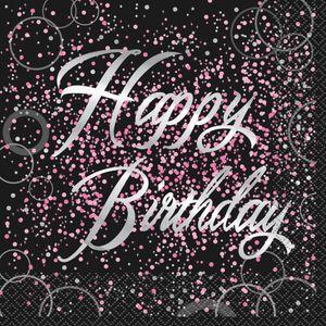 16 Happy Birthday Servietten in Schwarz Pink foliert