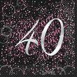 40. Geburtstag 16 Servietten in Schwarz Pink foliert